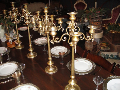 Large Gold Tabletop Candelabras (#1235) - Vintage Affairs - Vintage By Design LLC