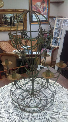 Art Deco Iron Table or Hanging Candelabra