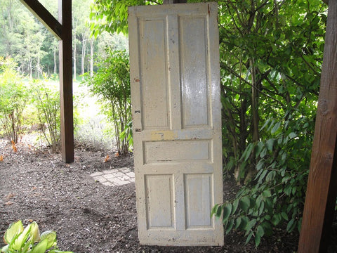 Yellow Chippy 4 Pane Barn Door (#1331) - Vintage Affairs - Vintage By Design LLC