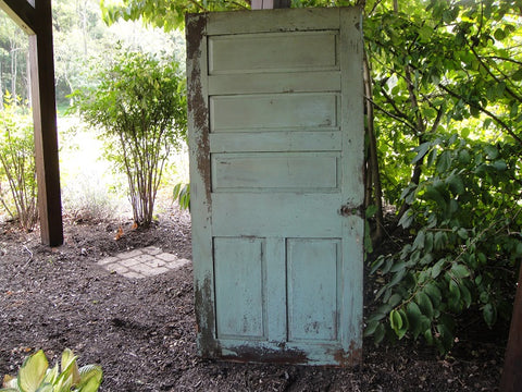 Five Panel Chippy Celadon Door (#1336) - Vintage Affairs - Vintage By Design LLC