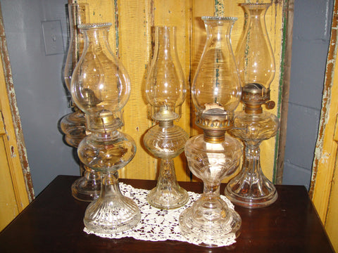 Mixed Glass Oil Lanterns - Vintage Affairs - Vintage By Design LLC