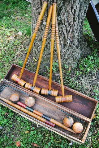 Antique Croquet Set (#1109) - Vintage Affairs - Vintage By Design LLC