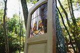 Painted Pine Door w/Stained Glass Panel (#1316) - Vintage Affairs - Vintage By Design LLC