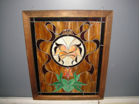 Brown Stained Glass Window (#1318) - Vintage Affairs - Vintage By Design LLC