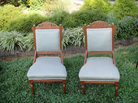 Carolina Blue Eastlake Chairs (#1180) - Vintage Affairs - Vintage By Design LLC