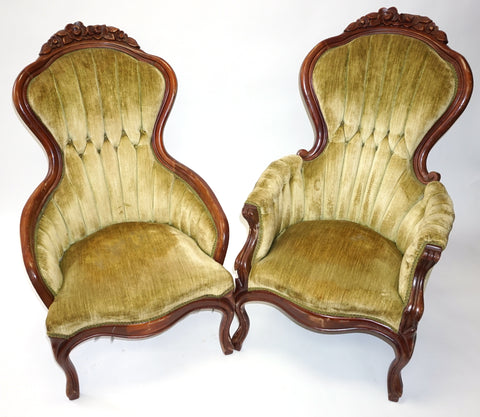 Kimball Laurel Green Victorian Parlor Chairs (#1196A)