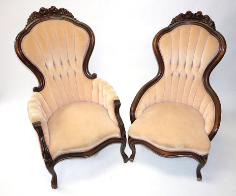 Pair of Victorian Orchid Pink Chairs (#1183) - Vintage Affairs - Vintage By Design LLC