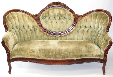 Victorian Royal Velvet Sage Settee (#1181C) - Vintage Affairs - Vintage By Design LLC