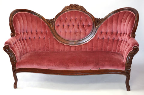 Victorian McLendon Cranberry Settee - Vintage Affairs - Vintage By Design LLC