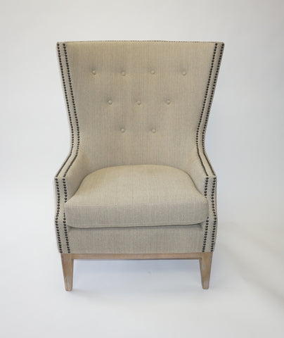 Modern Large Beige Wing Back Chairs - Vintage Affairs - Vintage By Design LLC
