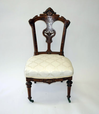 White Damask Eastlake Side Chairs (#1145C) - Vintage Affairs - Vintage By Design LLC