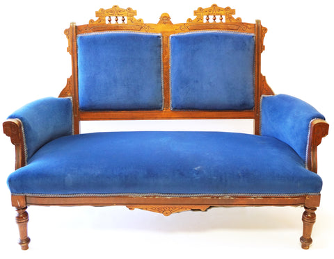 Victorian Blue Settee and Matching Chair (#1165) - Vintage Affairs - Vintage By Design LLC