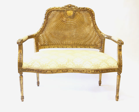 Louis XVI Style Giltwood Caned Back Upholstered Settee (#1173)
