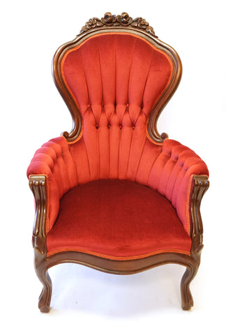 Pair of Red Victorian Parlor Chairs (#1183B)