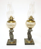 Pair of Spelter Figural Oil Lamps (#1206) - Vintage Affairs - Vintage By Design LLC