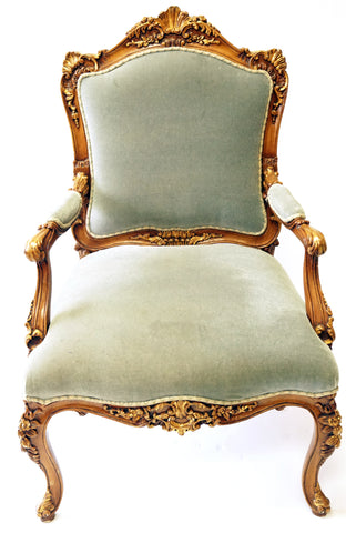 Louis XV Style Shadow Blue Armchair (#1172A) - Vintage Affairs - Vintage By Design LLC