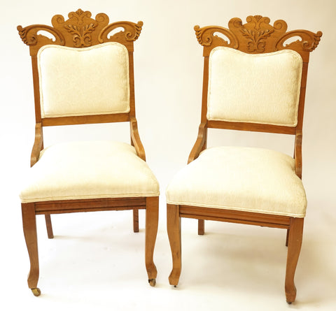Pair of Ivory Eastlake Side Chairs (#1145J) - Vintage Affairs - Vintage By Design LLC