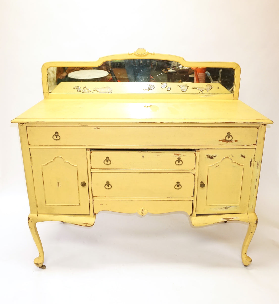 Yellow Shabby Chic Sideboard Cake Table Console 1163