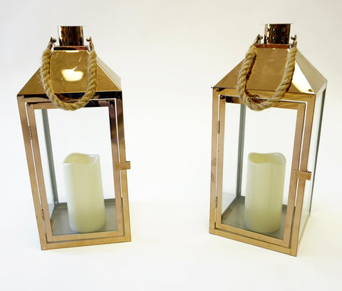 Glass Lanterns with Rope Detail - Vintage Affairs - Vintage By Design LLC
