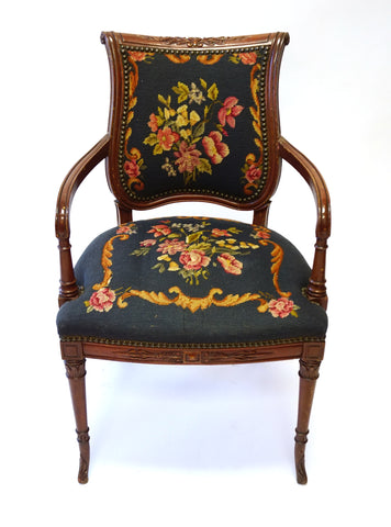 Navy Blue Victorian Needlepoint Armchair (#1149C) - Vintage Affairs - Vintage By Design LLC