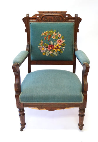 Blue Victorian Needlepoint Armchair (#1149) - Vintage Affairs - Vintage By Design LLC