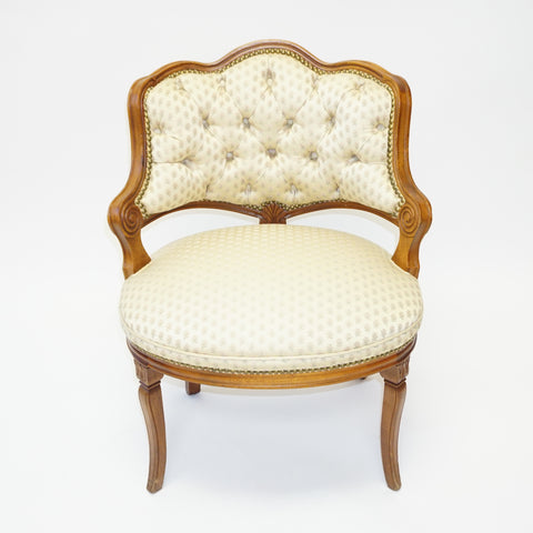 Gold Louis XV Style Walnut Fauteuil (#1158B) - Vintage Affairs - Vintage By Design LLC