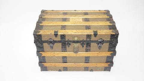 Antique Steamer Trunk with Rope Handles (#1018A) - Vintage Affairs - Vintage By Design LLC