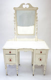 Shabby Chic White Vanity With Mirror (#1139A) - Vintage Affairs - Vintage By Design LLC