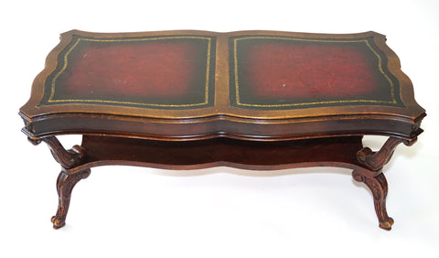 Antique Mid-Century Leathertop Coffee Table (#1134L) - Vintage Affairs - Vintage By Design LLC