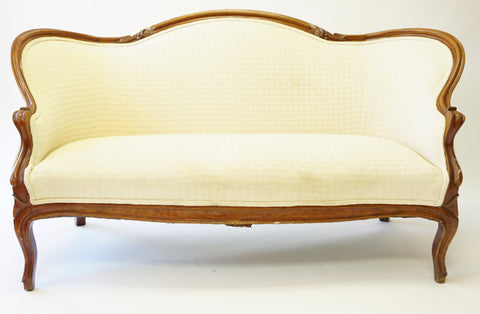 Ivory Victorian Settee (#1145G) - Vintage Affairs - Vintage By Design LLC