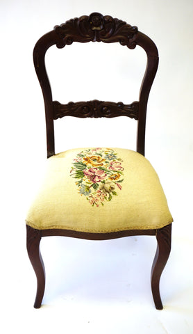 White Needlepoint Balloon Back Chair (#1149G) - Vintage Affairs - Vintage By Design LLC