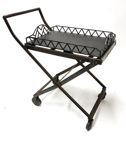 Metal Rolling Cart with Metal Tray - Vintage Affairs - Vintage By Design LLC