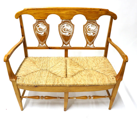 Rattan Bench - Vintage Affairs - Vintage By Design LLC