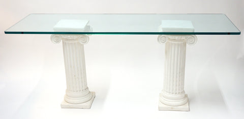 Two Columns w/ Glass Table Top - Vintage Affairs - Vintage By Design LLC