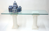 Two Columns w/ Glass Table Top