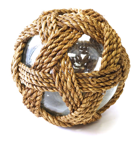 Large Glass Globes covered in rope - Vintage Affairs - Vintage By Design LLC
