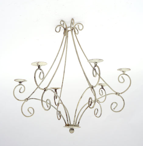 Antique White Celian Wrought Iron Chandelier (#1228) - Vintage Affairs - Vintage By Design LLC