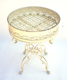 White Metal Cake Stand/End Table (#1137) - Vintage Affairs - Vintage By Design LLC