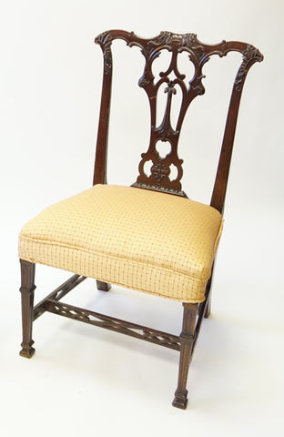 Goldenrod and Burgundy Stitched Chair (#1161) - Vintage Affairs - Vintage By Design LLC