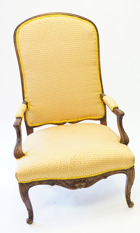 Goldenrod and Burgundy Stitched Armchair (#1161A)