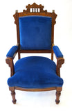 Victorian Blue Settee and Matching Chair (#1165)
