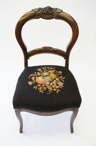 Black Victorian Needlepoint Side Chairs (#1149B) - Vintage Affairs - Vintage By Design LLC
