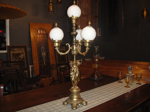 Figural Brass 4 Light Lamp (#1210) - Vintage Affairs - Vintage By Design LLC