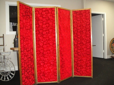 Four Panel Red Velour Screen (#1320) - Vintage Affairs - Vintage By Design LLC