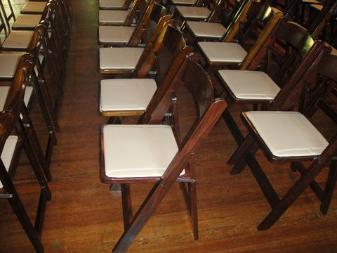 Fruitwood Folding Chairs w/ Tan Padded Seat (#1101)