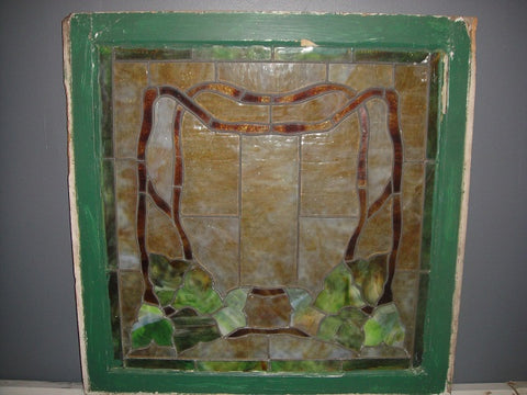 Green Stained Glass Window (#1319) - Vintage Affairs - Vintage By Design LLC
