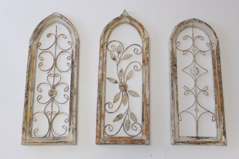 White and Iron Church Windows - Vintage Affairs - Vintage By Design LLC