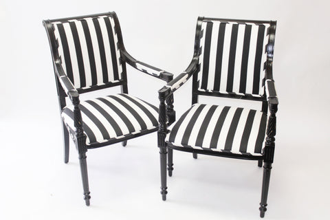Black and White Stripe Arm Chairs - Vintage Affairs - Vintage By Design LLC