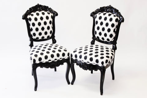 Black and White Polka Dot Side Chairs - Vintage Affairs - Vintage By Design LLC