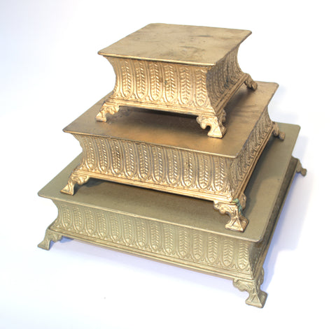 Gold Square Cake Stands - Vintage Affairs - Vintage By Design LLC